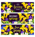 spring holiday floral banner with blooming flower vector image vector image