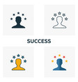 success icon set four elements in diferent styles vector image
