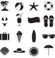 summer beach black of silhouette icons vector image vector image