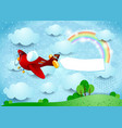 surreal landscape with airplane banner and rain vector image vector image