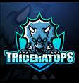 triceratops mascot esport logo design vector image vector image