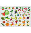 vegetable berry fruit big collection kit vector image