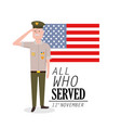 veterans day to policeman celebration and flag vector image vector image