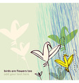 Birds as flowers Invitation greeting postcard vector image