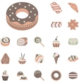 Flat icons collection for confectionery vector image