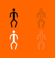 a man with crooked legs black and white set icon vector image