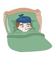 a Sick boy lying in bed vector image