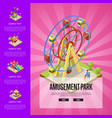 amusement park banner with isometric elements vector image