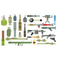 arms grenade set military weapon grenade launcher vector image