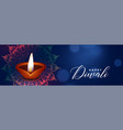 beautiful diwali festival blue banner with diya vector image