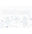 Business banner with sketch businesspeople and vector image