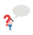businessman holding question mark with speech vector image