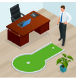 businessman playing mini golf in his office vector image vector image