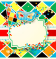 carnival with hat and mask on harlequin background vector image vector image