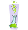 cartoon chemical flask with green liquid vector image