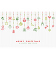 christmas and new year ornament outline icon card vector image