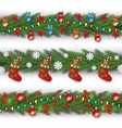 christmas border element set - green decorated fir vector image vector image