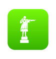 columbus monument icon digital green vector image