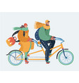 couple of man and woman riding a tandem bicycle vector image