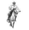 drawing black and white of cowboy riding horse vector image vector image