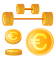 dumbbell of golden discs with euro vector image vector image