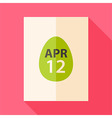 easter piece paper with date 12 april and egg vector image