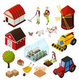 farm isometric elements set vector image vector image