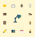 flat icons board stand date puncher vector image vector image