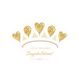 gold tiara icon made glitter balloons cute vector image