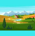 green fields with huge mountains in distance vector image vector image