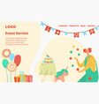 happy birthday people number letter event service vector image