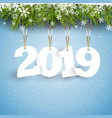 happy new year background with hanging numbers vector image vector image