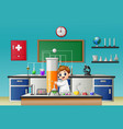 little boy holding test tube in the chemical lab vector image