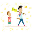 little schoolboy and senior pupil a schoolboy vector image vector image