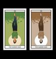 major arcana tarot cards hanged man man vector image vector image
