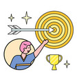 male character pointing on target and prize vector image vector image