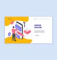 man making online order on smartphone isometric vector image vector image