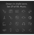 Music icon set drawn in chalk vector image vector image