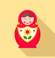 nesting girl toy icon flat style vector image vector image