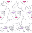 pattern with woman face vector image vector image