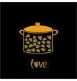 Pot with hearts Love card Gold sparkles glitter vector image