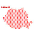 romania map - mosaic of lovely hearts vector image vector image