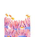 sea anemone with fish in sea frame watercolor vector image vector image