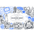 seafood shop hand drawn banner template retro vector image vector image