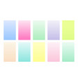 set gradient backgrounds pastel color palette vector image