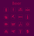 set of beer simple icons vector image vector image