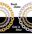 Set of chains metal brushes - gold and silver vector image vector image