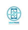 smartphone logo design mobile phone concept sign vector image vector image