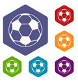 soccer ball icons set hexagon vector image vector image