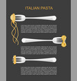 trendy concept for pasta label vector image